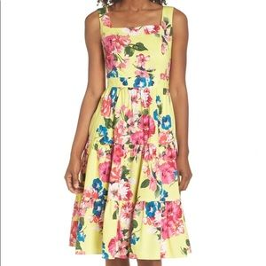 Eliza J Floral Tiered Fit & Flare Midi Dress
